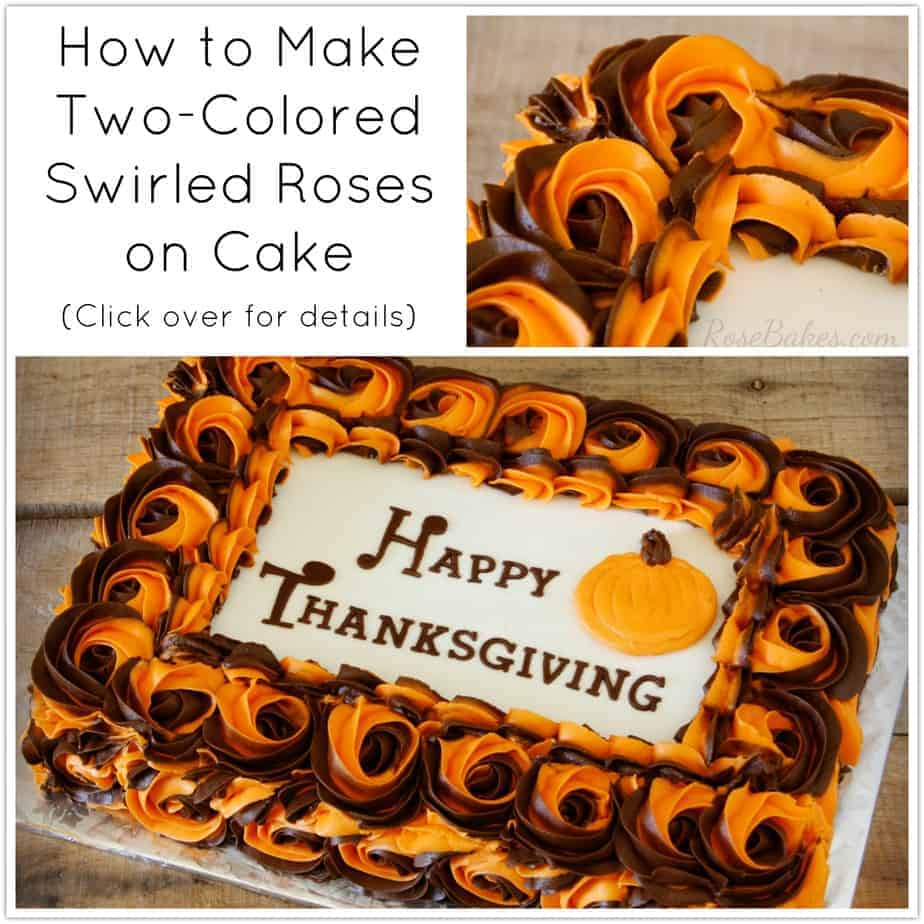 How to Make Two Colored Swirled Roses on Cake by RoseBakes.com