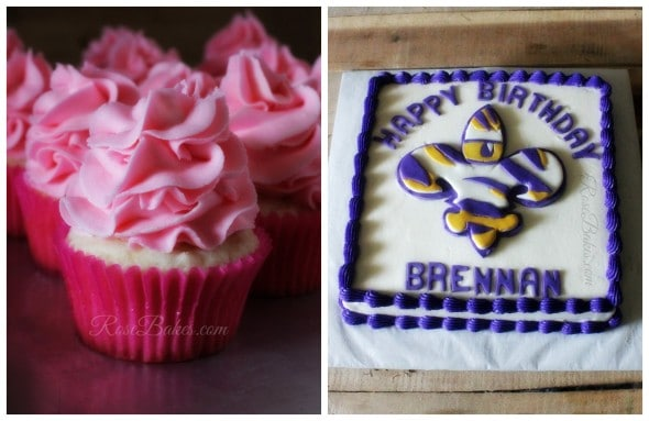 Pink Cupcakes and LSU Cake