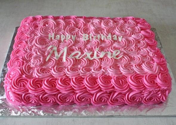 Hot Pink And White Half Sheet First Birthday Cake