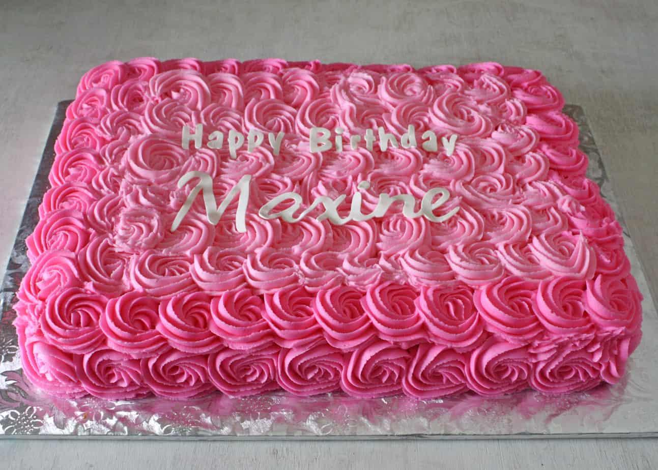 Pink Roses Sheet Cake Rose Bakes