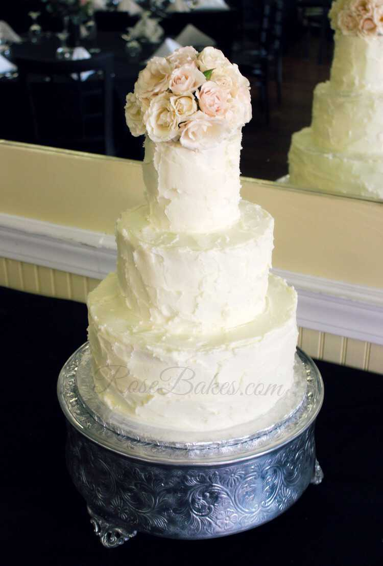 Wedding Cake Decorating Buttercream : Simple Rustic Buttercream Wedding Cake - Rose Bakes