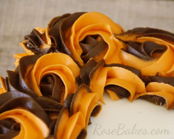 Thanksgiving Cake Brown Orange Roses