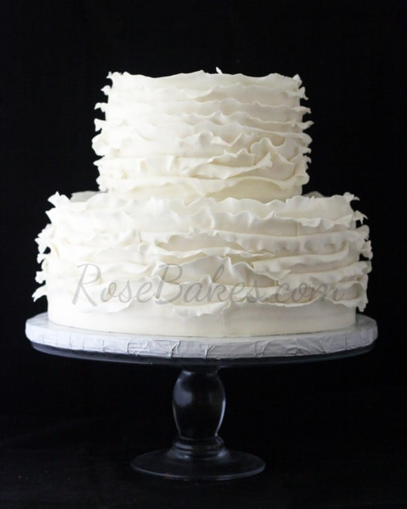 Ivory Ruffles Wedding Cake with Bling - Rose Bakes