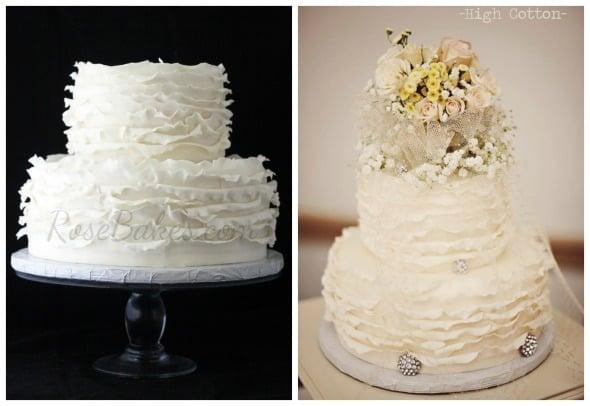 Ivory Ruffles Wedding Cake Collage