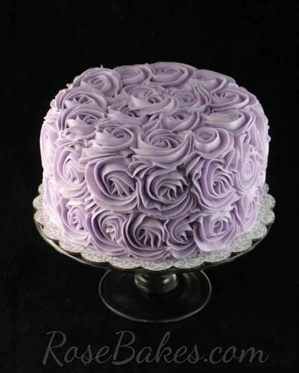Lavender Buttercream Roses Cake