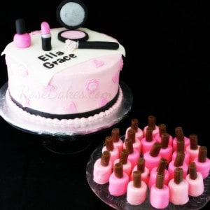 Pink and Black Makeup Cake and Marshmallow Fingernail Polish Sm