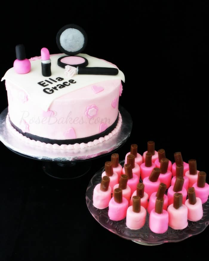 Pink and Black Makeup Cake and Marshmallow Fingernail Polish Sm