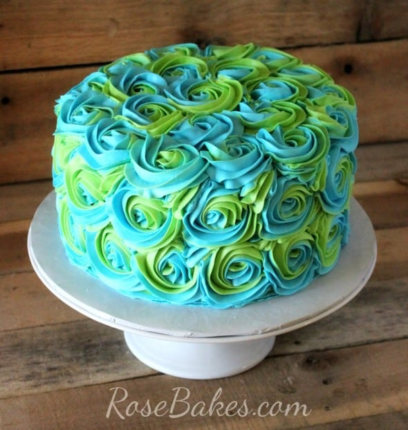 Ercream Roses Cake Turquoise Lime Green