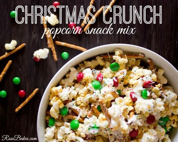 Christmas Crunch Popcorn Snack Mix - Rose Bakes