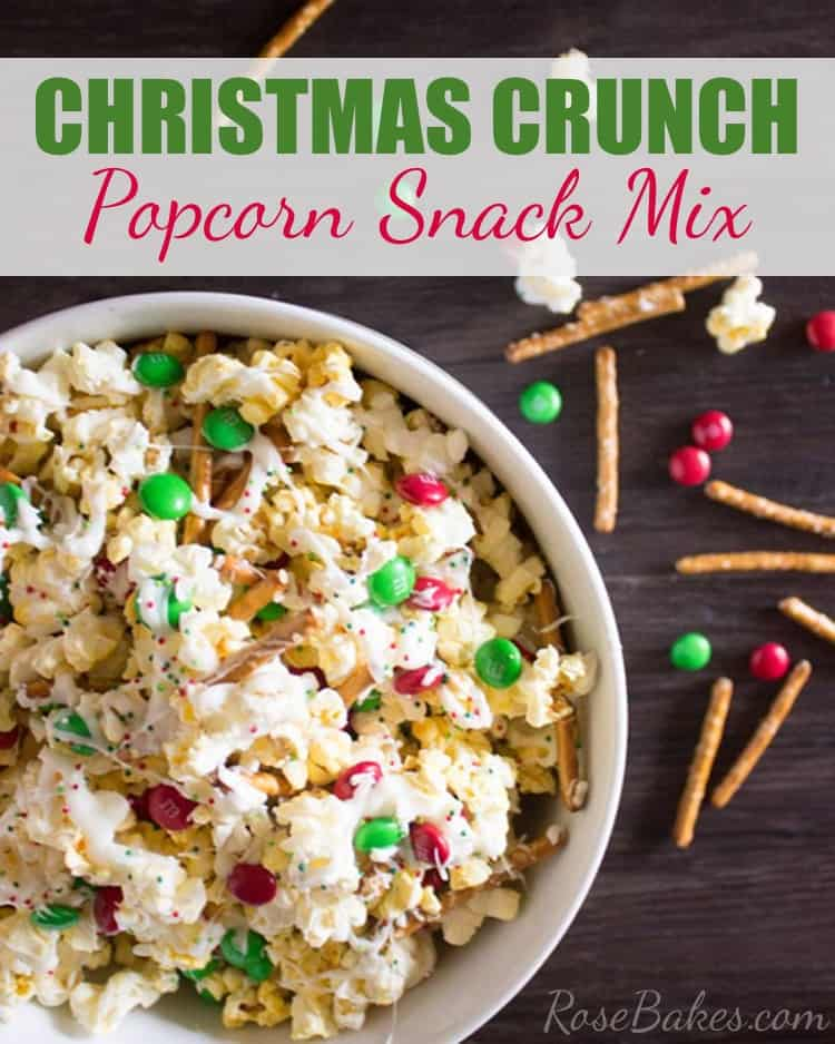 Christmas Crunch Popcorn Snack Mix with text