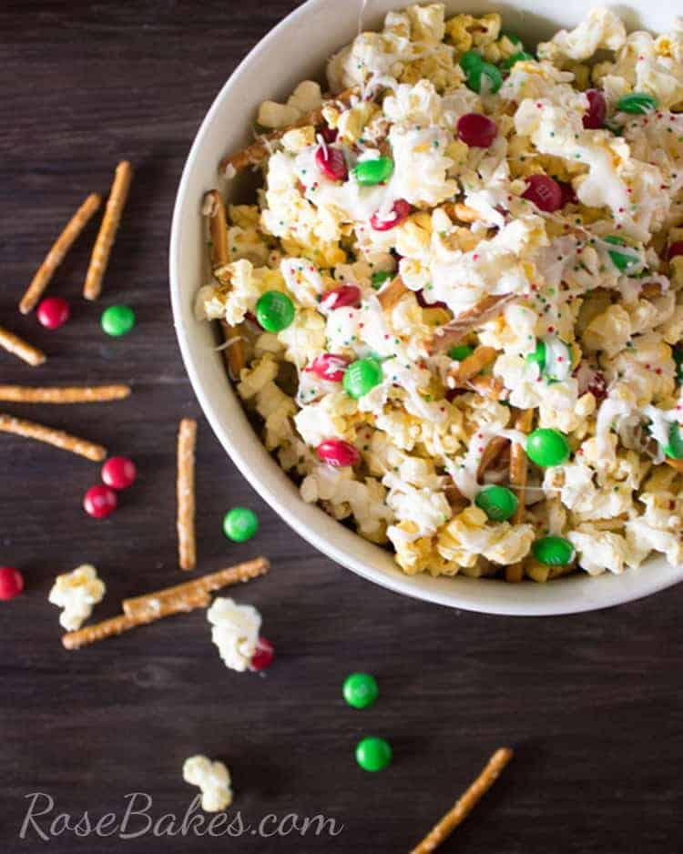 Christmas Crunch Popcorn Snack Mix in a bowl