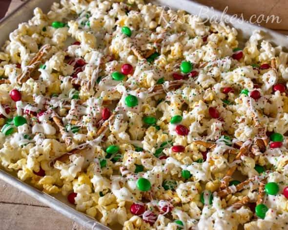 Christmas Crunch White Chocolate Popcorn Snack Mix