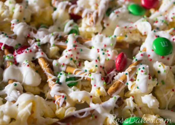 Christmas Crunch Popcorn Snack Mix - Rose Bakes