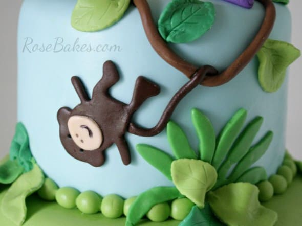 Fondant Monkey on Jungle Cake