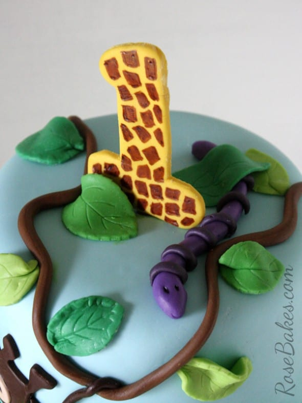 Fondant Snake Vines Leaves Jungle Cake
