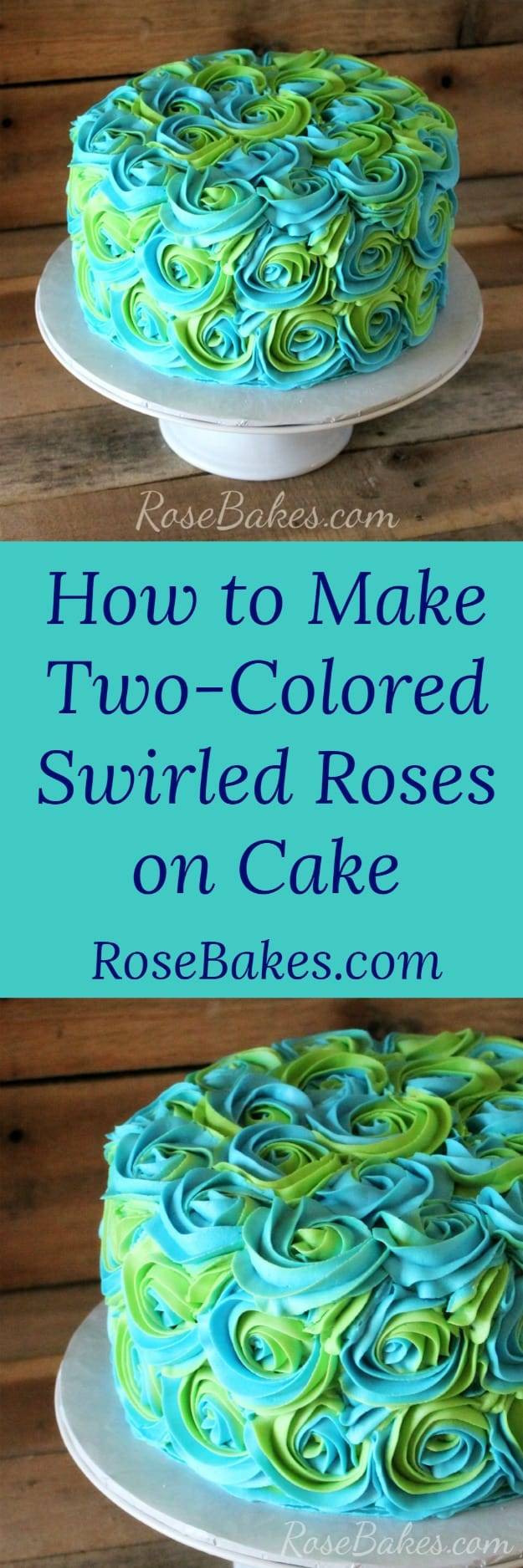 HOW TO MAKE TWO-COLORED SWIRLED ROSES ON CAKE Rose Bakes