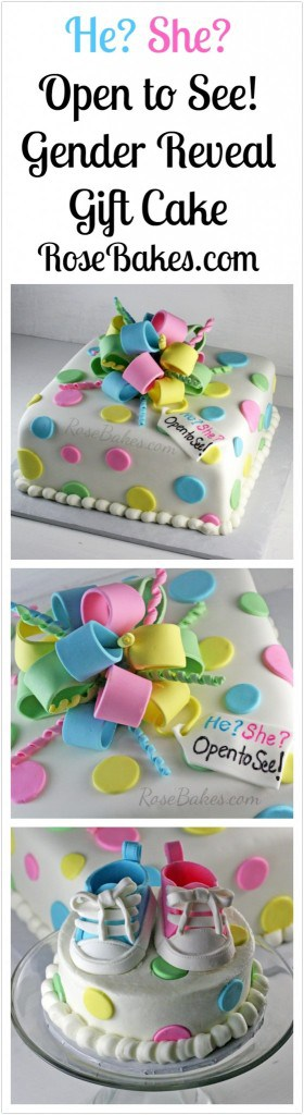 He She Open to See! Gender Reveal Gift Cake