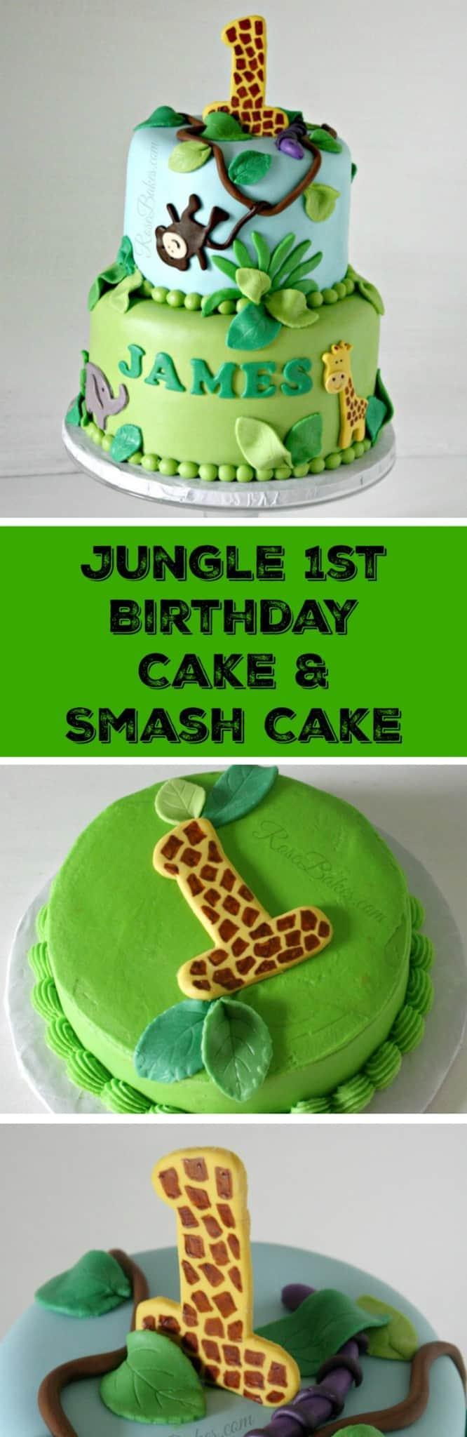 Fine Jungle 1St Birthday Cake Smash Cake Rose Bakes Personalised Birthday Cards Bromeletsinfo