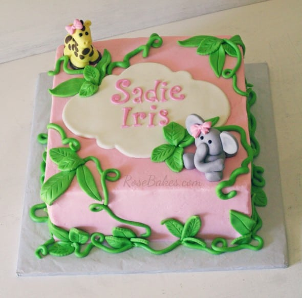 pink jungle baby shower cake rose bakes