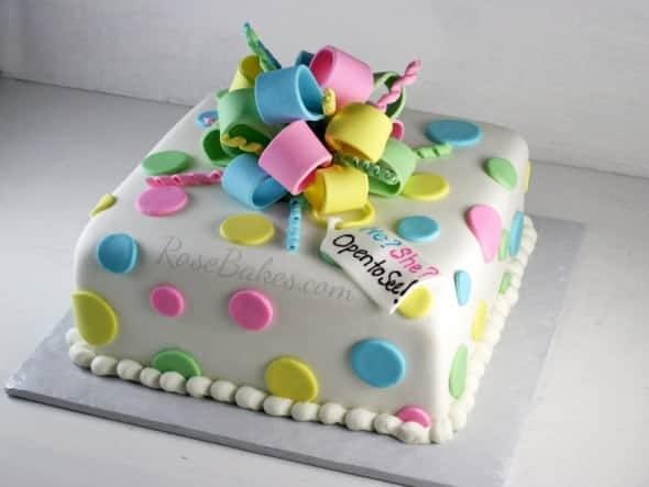 Polka Dots Gender Reveal Cake