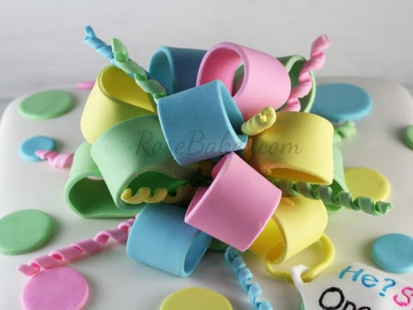 Poofy Fondant Bow with Ribbon Curls