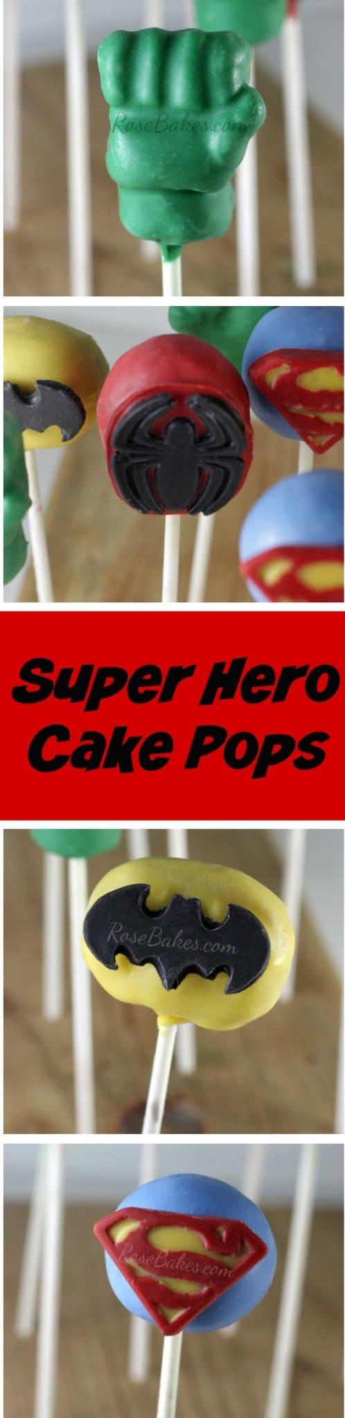 Super Hero Cake Pops Hulk, Spiderman, Batman, Superman by RoseBakes