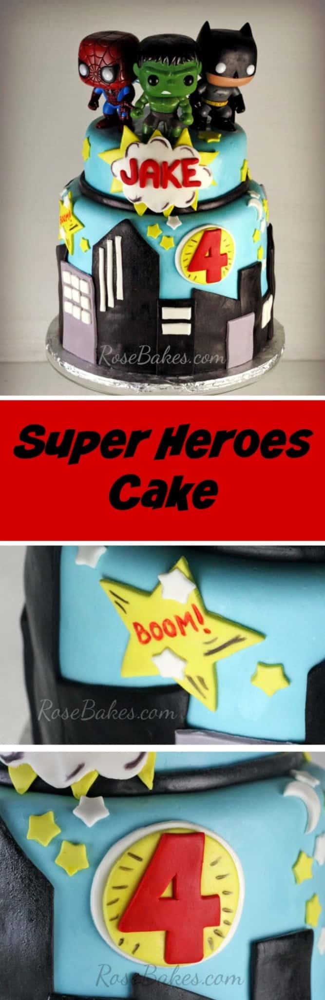 Super Heroes Cake by RoseBakes