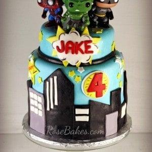 Super Heroes Hulk Batman Superman Cake