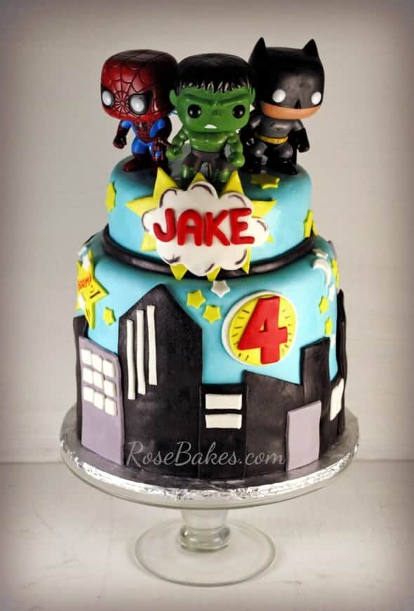 Super Heroes Hulk Batman Superman Cake