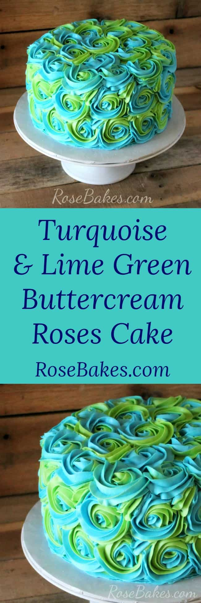 Turquoise & Lime Green Buttercream Roses Cake by Rose Bakes