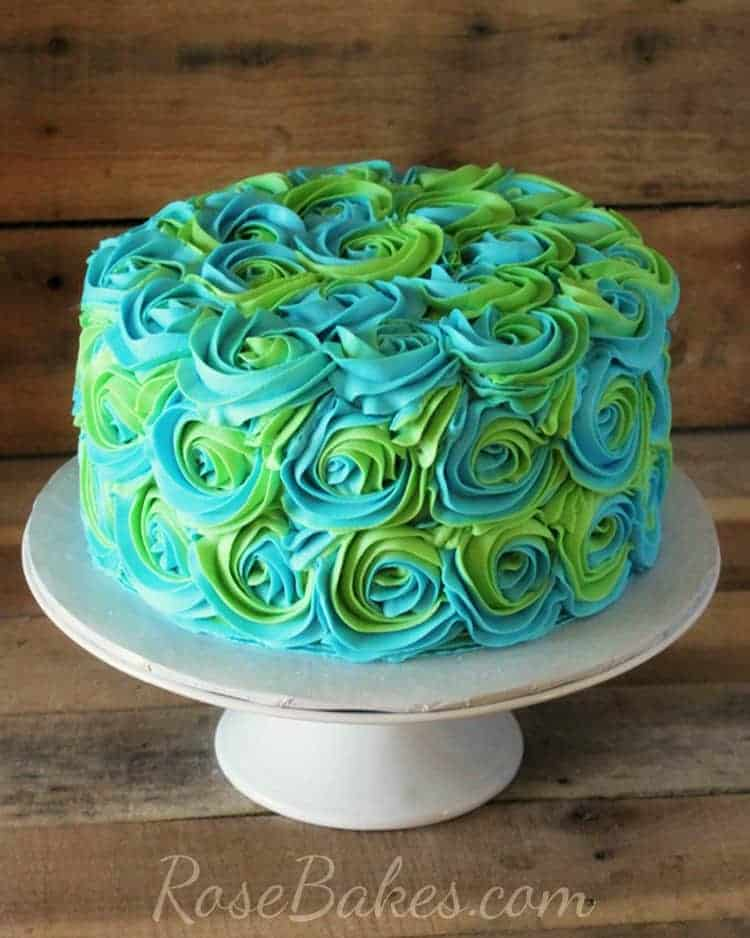 Turquoise Amp Lime Green Swirled Buttercream Roses Cake
