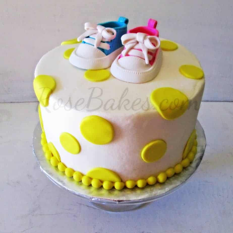 Baby Converse Shoes Baby Shower Cake - Rose Bakes
