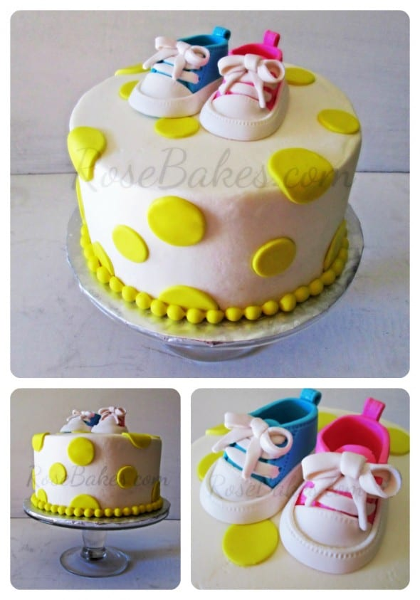 Baby Shower Cake with Converse Shoes Collage
