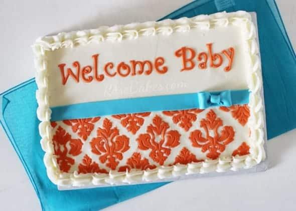 Damask Baby Shower Sheet Cake