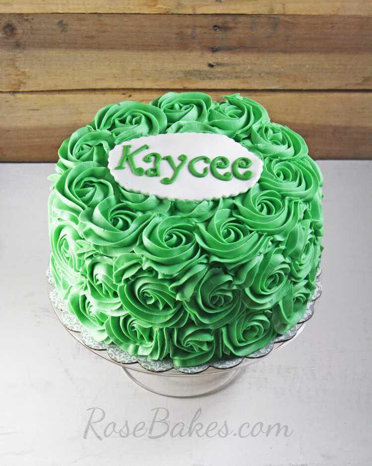 Green Buttercream Roses Cake