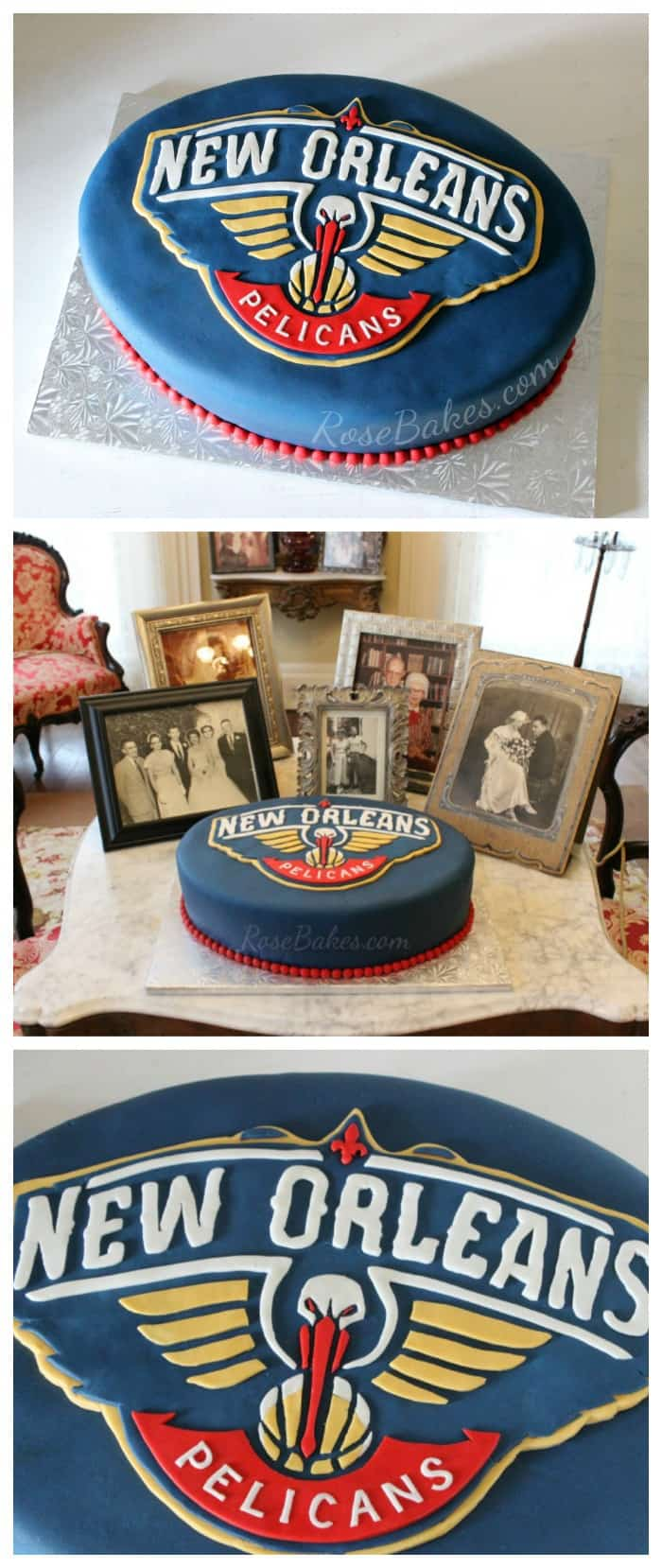 Outstanding New Orleans Pelicans Cake Collage Rose Bakes Personalised Birthday Cards Veneteletsinfo