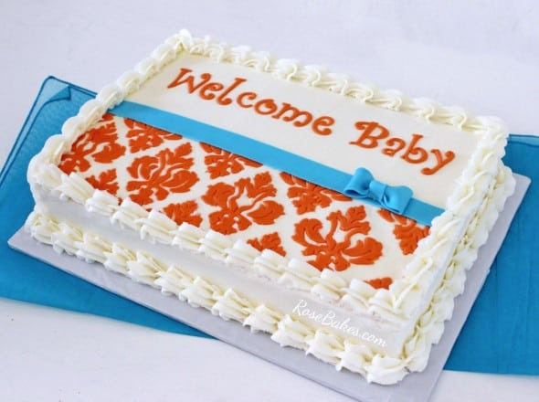 Orange Damask and Turquoise Sheet Cake
