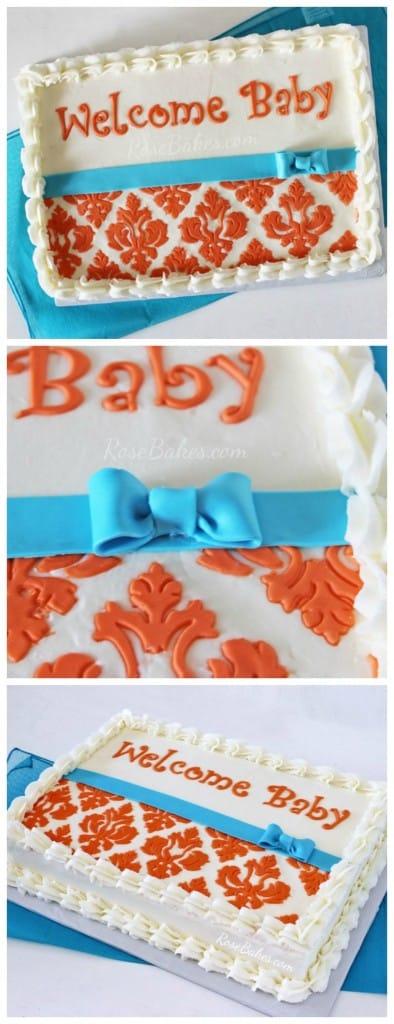 Orange & Turquoise Damask Baby Shower Cake at Rose Bakes