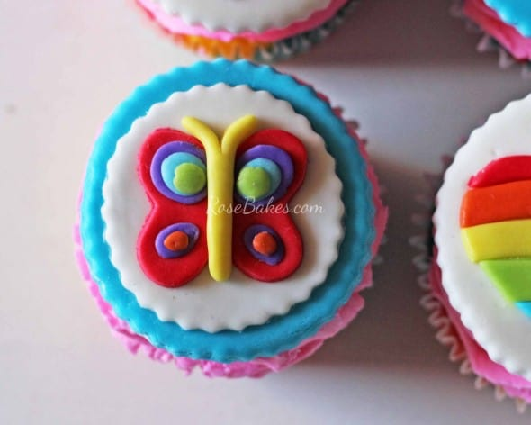 Rainbow Butterfly Cupcake Topper