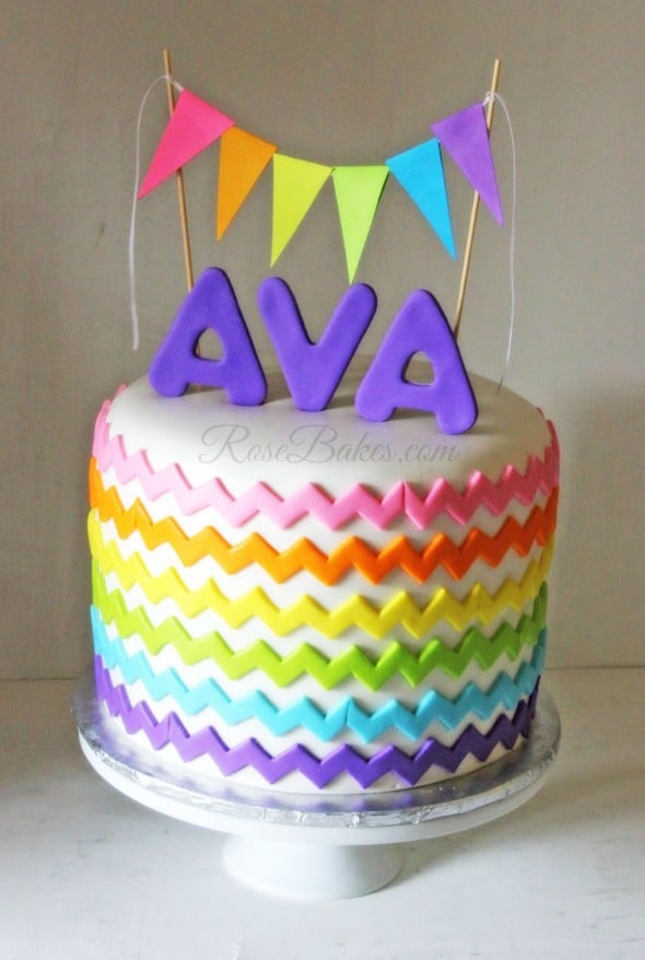 Rainbow Chevron Cake with Bunting