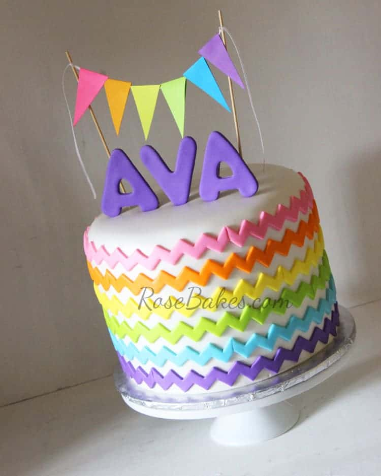 Rainbow Chevron Cake With Bunting Flags Rose Bakes