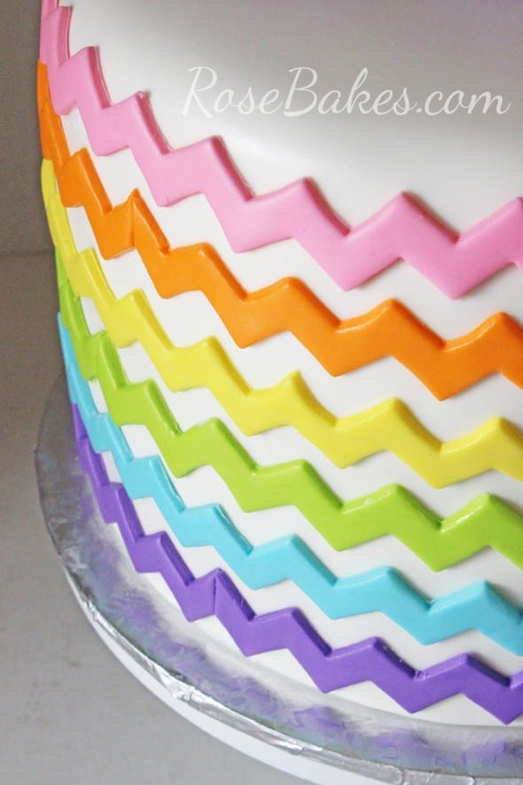 Rainbow Chevron Pattern on Cake