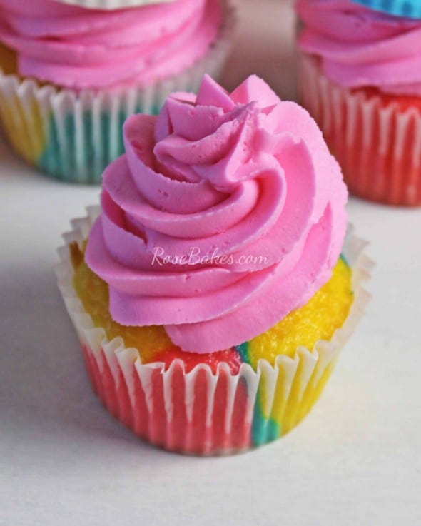 Rainbow Cupcakes with Pink Frosting