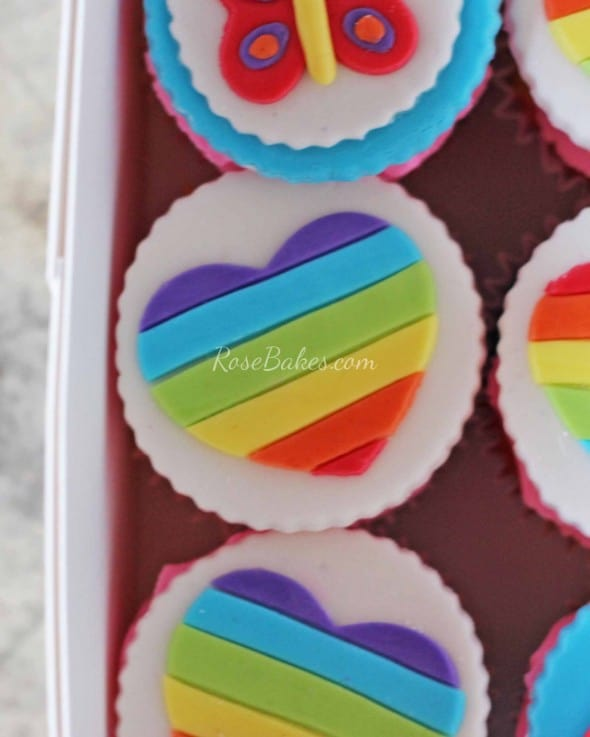 Rainbow Heart Cupcake Topper