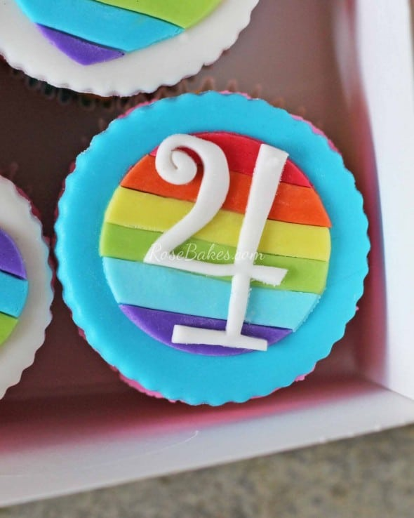 Rainbow Number Cupcake Topper