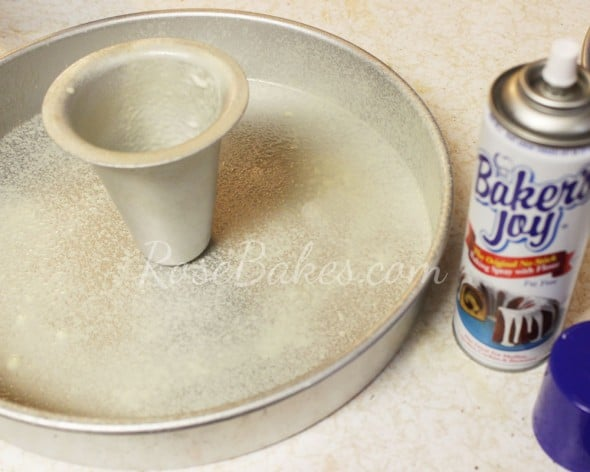 Spray Cake Pan and Heating Core with Bakers Joy