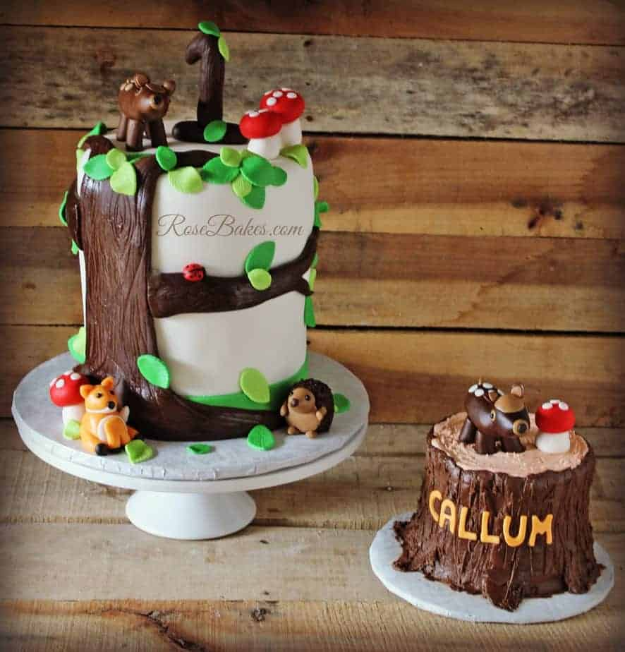 woodland baby shower cake woodland animals tree stump cake amp smash cake bakes 1495