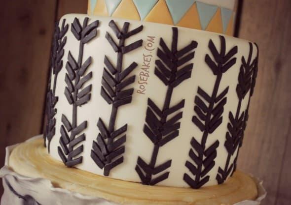 Arrows Tier of Woodland Animals Cake with Arrows & Birch Tree