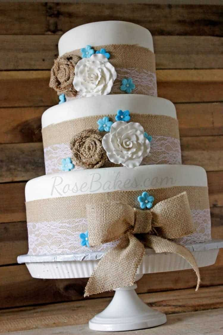 burlap and lace wedding cake burlap amp lace rustic wedding cake bakes 12250