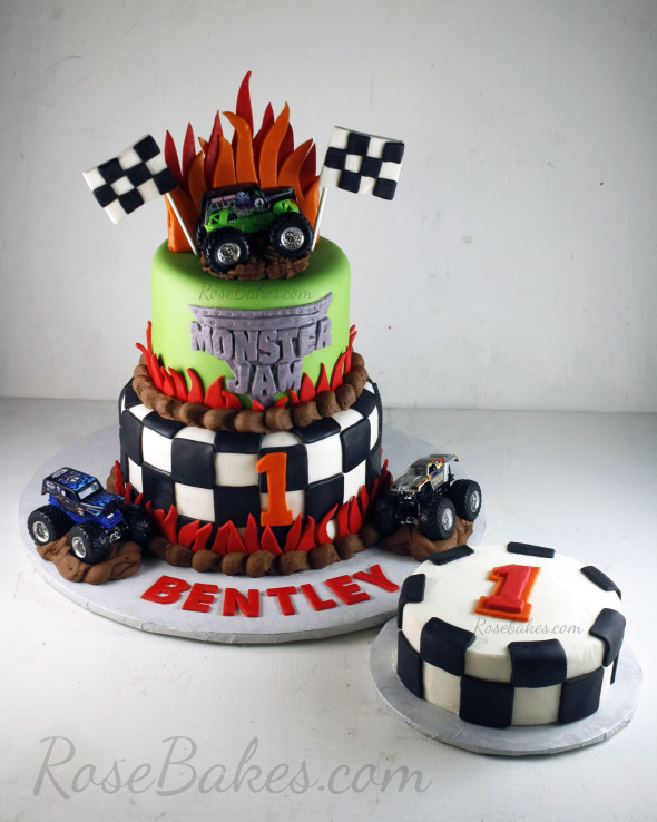 Miraculous Monster Jam Cake And Smash Cake Rose Bakes Funny Birthday Cards Online Alyptdamsfinfo